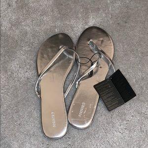Brand new silver beach flip flops